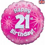 21st Birthday Pink Holographic 18 Inch Foil