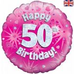50th Birthday Pink Holographic 18 Inch Foil