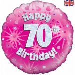 70th Birthday Pink Holographic 18 Inch Foil