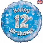 12th Birthday Blue Holographic 18 Inch Foil