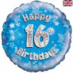 16th Birthday Blue Holographic 18 Inch Foil