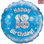 18th Birthday Blue Holographic 18 Inch Foil