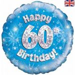 60th Birthday Blue Holographic 18 Inch Foil