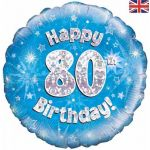 80th Birthday Blue Holographic 18 Inch Foil