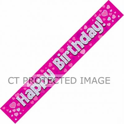 9ft Pink Holo. Happy Birthday Banner
