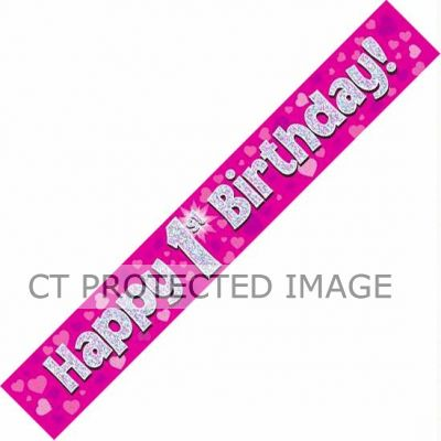 9ft Pink Holo. 1st Birthday Banner