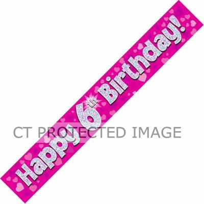 9ft Pink Holo. 6th Birthday Banner
