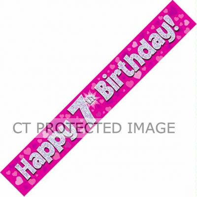 9ft Pink Holo. 7th Birthday Banner