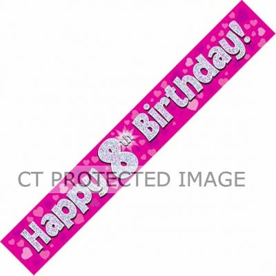 9ft Pink Holo. 8th Birthday Banner