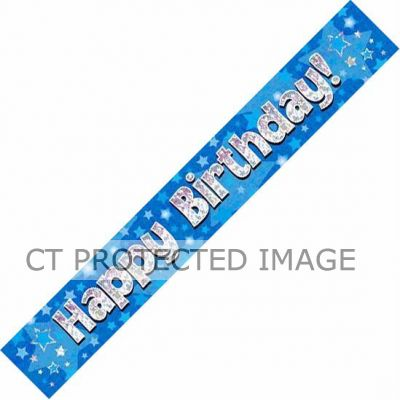 9ft Blue Holo. Happy Birthday Banner