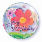 Birthday Flower 22 Inch Bubble Balloon