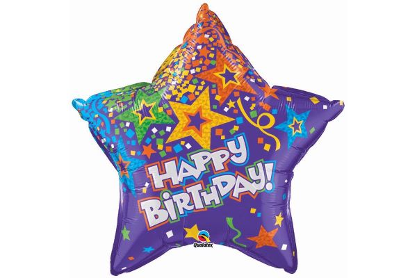 Birthday Star Purple 36 Inch Foil Balloon
