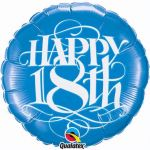 Happy 18th Blue 18 Inch Foil Balloon