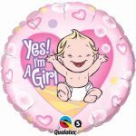 Yes Im A Girl 18 Inch Foil Balloon