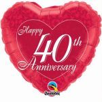 40th Anniversary Heart 18 Inch Foil Balloon