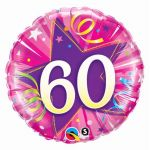 60th Birthday Pink 18 Inch Foil Balloon