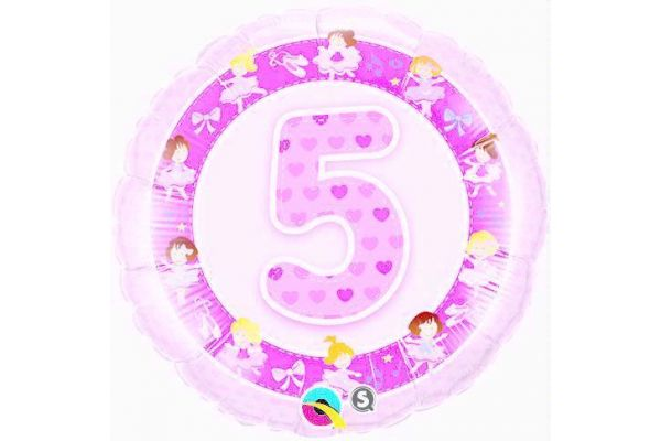 5th Birthday Ballerinas 18 Inch Foil