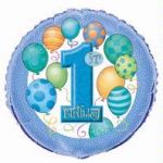 1st Birthday Blue 18 Inch Foil Balloon