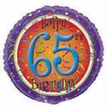 65th Birthday 18 Inch Foil Balloon