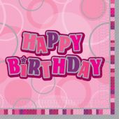  Pink Glitz Birthday 33cm Napkins (pack&nbsp;quantity&nbsp;16) 