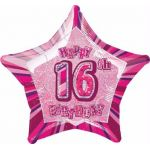 Pink Glitz 16th 20 Inch Foil Balloon