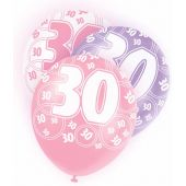  Pink Glitz 30th 12 Inch Balloons (pack&nbsp;quantity&nbsp;6) 