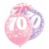  Pink Glitz 70th 12 Inch Balloons (pack&nbsp;quantity&nbsp;6) 