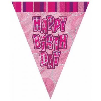 Pink Glitz Birthday 12ft Flag Banner