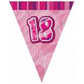 Pink Glitz 18th 12ft Flag Banner