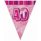 Pink Glitz 40th 12ft Flag Banner