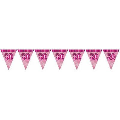 Pink Glitz 50th 12ft Flag Banner