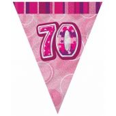 Pink Glitz 70th 12ft Flag Banner