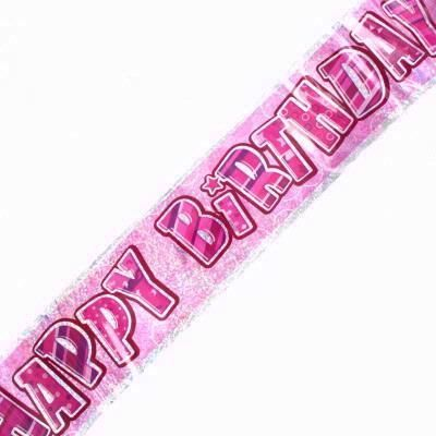 Pink Glitz Birthday Foil Banner