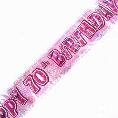 Pink Glitz 70th Foil Banner