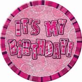 Pink Glitz Birthday 6 Inch Badge