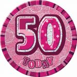Pink Glitz 50th 6 Inch Badge