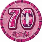 Pink Glitz 70th 6 Inch Badge
