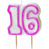 Pink Glitz 16th Birthday Candle