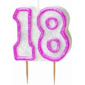 Pink Glitz 18th Birthday Candle
