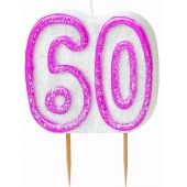 Pink Glitz 60th Birthday Candle