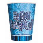 9oz Prismatic Blue Glitz Birthday Cups (pack quantity 8)