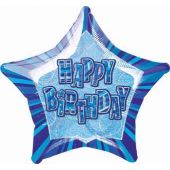Blue Glitz Birthday 20 Inch Foil Balloon