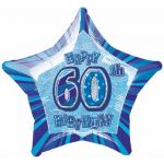 Blue Glitz 60th 20 Inch Foil Balloon