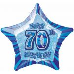 Blue Glitz 70th 20 Inch Foil Balloon