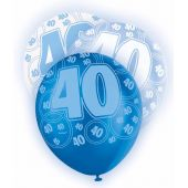 Blue Glitz 40th 12 Inch Balloons (pack quantity 6)