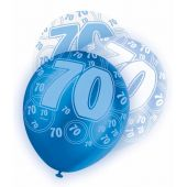  Blue Glitz 70th 12 Inch Balloons (pack&nbsp;quantity&nbsp;6) 