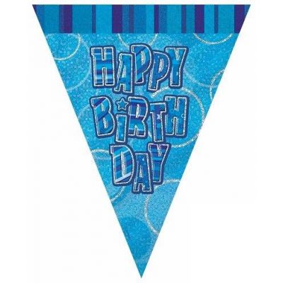Blue Glitz Birthday 12ft Flag Banner