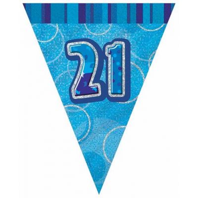 Blue Glitz 21st 12ft Flag Banner