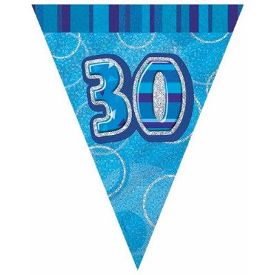Blue Glitz 30th 12ft Flag Banner