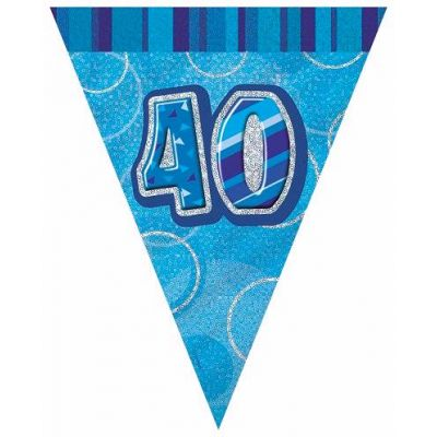 Blue Glitz 40th 12ft Flag Banner